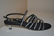 CHANEL 16K Crystal Jewel Diamond  Strappy Black Silk Ruler Heel Sandals Shoe 37