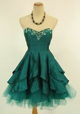 NWT Beyond Jovani Size 4 Short Knee-Length Bubble Strapless Teal $250 Formal