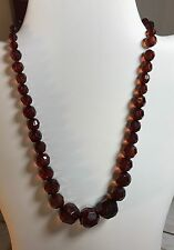 "VINTAGE 19"" FACETED CHERRY AMBER GRADUATED BEAD NECKLACE"