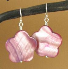 Shell silver earrings. Flower. Bright pink. Shiny, iridescent. Big.Sterling 925.