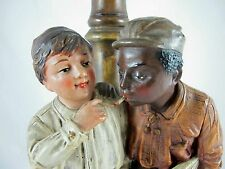 EARLY 20th CENTURY PAINTED TERRACOTTA TABLE LAMP C1910