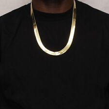 14k Gold Plated Herringbone Chain Necklace 11mm x 24 inches long - High Quality