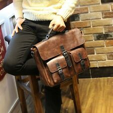 Mens Faux Leather Vintage Style Attache Briefcase Messenger Laptop Bags Tote