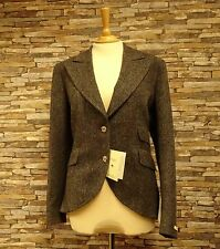 Magee Ladies Grey Donegal Tweed Jacket Wide Lapel Side Vents Size 16 New
