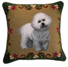 """Bichon Dog Needlepoint Pillow 14""""x14"""" NWT"""