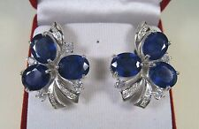 23.13 CTW BLUE & WHITE SAPPHIRE EARRINGS - WHITE GOLD over 925 STERLING SILVER