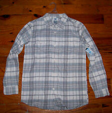 New! Boys OLD NAVY Ivory & Blue Cotton Plaid Button Down Collar Shirt XL 14 / 16