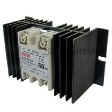 Solid State Relay SSR Voltage Resistance Regulator 25A AC + Aluminum Heat Sink