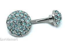 Nuevas Barras De Cristal Azul L cuelgan del vientre Body Piercing Anillos Ombligo del vientre Curva Bar