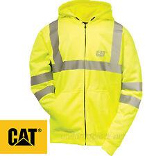 Caterpillar Sweatshirt Men CAT Zipper Hooded Fleece Hi-Vis Lined Jacket Class 3
