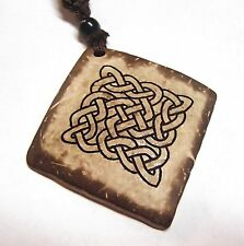 Celtic Knot Coconut Shell Square Pendant Necklace 18in Engraved Square Pattern
