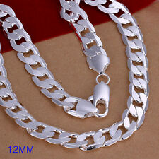 "wholesale sterling solid silver fashion 12mm chain necklace 20"" +box SN202"