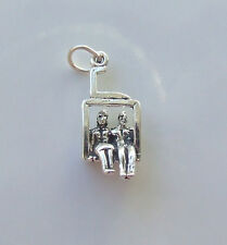 COUPLE ON CHAIR LIFT SKIING HOLIDAY 3D CHARM 925 STERLING SILVER
