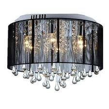 BLACK DRUM SHADE CRYSTAL CEILING CHANDELIER PENDANT LIGHT FIXTURE LIGHTING LAMP