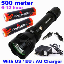 CREE LED 500meter 1000lumen TACTICAL RECHARGABLE POLICE FLASHLIGHT TORCH LAMP C6
