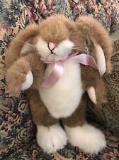 "NEW 1998 Hugfun INTL Bunny Jointed Plush Rabbit Tan White Pink Bow 8"" EASTER #D4"