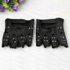 Pair Metal Studs Punk Rock Leather Men's Biker Motorcycle Fingerless Gloves