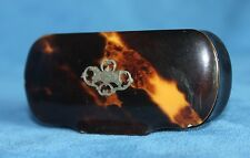 Antique Carved Horn or Papier Paper Mache Faux Shell & Silver Inlay Snuff Box