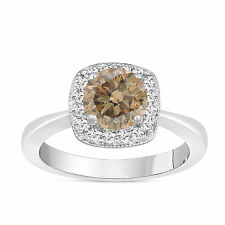 FANCY CHAMPAGNE BROWN DIAMOND COCKTAIL RING 1.23 CARAT 14K WHITE GOLD HALO PAVE