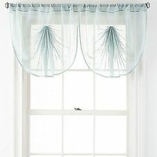 Liz Claiborne® AQUA DUST Lisette VOILE Sheer Fan Valance Curtain Topper NEW