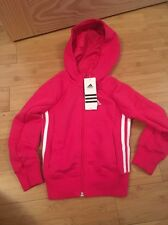 Adidas zip up track top sweat à capuche taille 5-6 ans bnwt rose