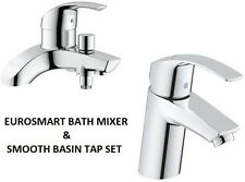 GROHE Eurosmart Bath Shower Mixer & Smooth Basin Mixer Tap 25105000 + 32467002