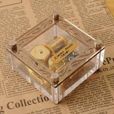 ACRYLIC CUBIC GOLD WIND UP MUSIC BOX : TWINKLE TWINKLE LITTLE STAR