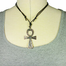 Chunky Ankh Cross Egyptian Key Of Life Pendant Necklace 73mm On Cotton Cord