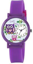 TIKKERS GIRLS STUNNING OWL PATTERN PURPLE SILICONE RUBBER STRAP WATCH - TK0078
