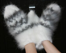 ANGORA 100% Longhair rabbit fluff mittens handmade FETISH not mohair Men Women