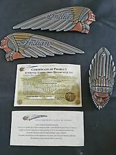 Indian motorcycle tank emblems and front fender ornament by Zambini Brothers
