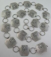 Navajo S. Tom Quality 228 Gram Sterling Silver Man in the Maze Concho Link Belt