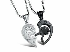 GirlZ! Valentine special Titanium Heart Couple Pendant Necklace with chains