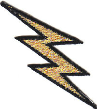 LIGHTNING BOLT, GOLD METALLIC w/BLACK OUTLINE - IRON ON EMBROIDERED PATCH