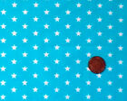 TURQUOISE WITH WHITE 7MM STARS - COTTON FQ