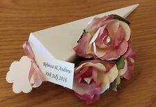 40 100% RED/IVORY/PINK REAL ROSE CONFETTI CONES PERSONALISED TAGS AND RIBBON
