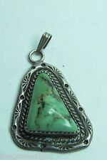 LEE Mc CRAY VINTAGE GREEN TURQUOISE PENDANT BEAUTIFUL SILVER 925 USED NAVAJO AG