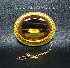HUGE ANTIQUE 15ct GOLD CITRINE SCOTTISH CAIRNGORM 80 CARAT VICTORIAN BROOCH 1880