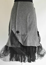 ZUZA BART CREATION quirky 100% WOOL ASYMMETRIC SKIRT SZ M GREY/BLACK