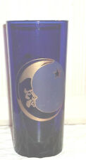 Cobalt Blue Glass New Moon Man Tumbler Pint