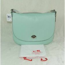 NWT COACH Turnlock Hobo in pebble leather silver / seaglass green MSRP $350