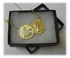 Double Lucky Sixpence Coin Necklace With 18ct Gold Plated Sterling Silver Chain