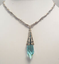 NEW SWEET ROMANCE GOTHIC PRISM CRYSTAL PENDULUM NECKLACE   AQUA BLUE CRYSTAL