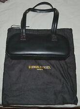Sonia Rykiel Paris Black Split Calf Leather Purse Handbag Pocket Book Dust Cover