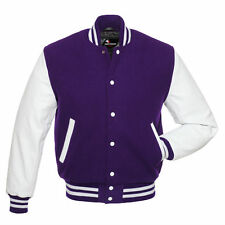 Varsity  Lettermen Wool  Jacket with Leather Sleeves XS TO 4XL