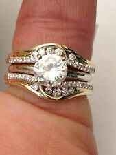 14k Yellow Gold Solitaire Enhancer Round Diamonds Ring Guard Wrap Wedding Band