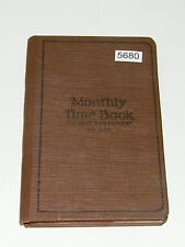 Vintage National Monthly Time Book 54-524 Two Payment Cut Leaf