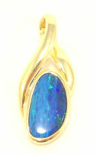 14k Solid Gold Natural Blue Opal Pendant Great Fire & Brilliance Free Shipping