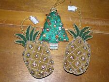Estate Lot of 3 Fabric Sequins & Bead PINEAPPLE & Christmas Tree Puffy Ornaments