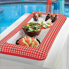 127cm BBQ ESTATE GIARDINO PICNIC PARTY RED GINGHAM GONFIABILE BUFFET BEVANDE COOLER